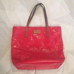 Kate Spade Hot Pink Shoulder Bag with Leather Trim